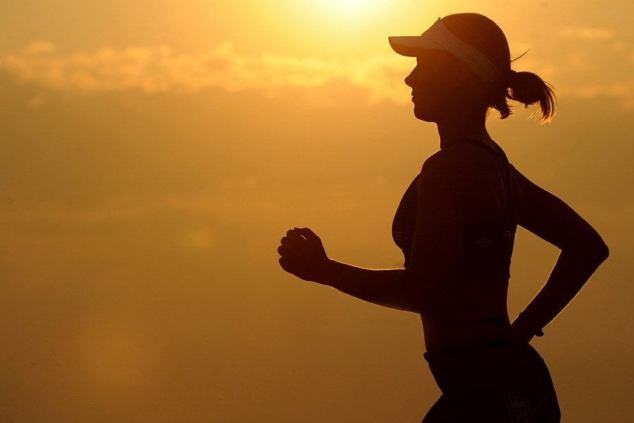 Silhouette of Running Lady