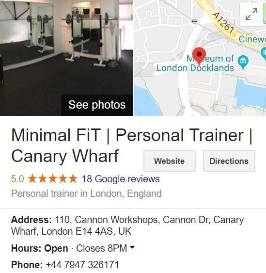 Personal Training Studio Canary Wharf