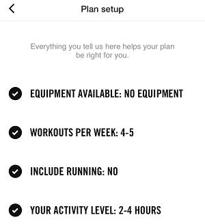Nike Training Club Plan Set-up